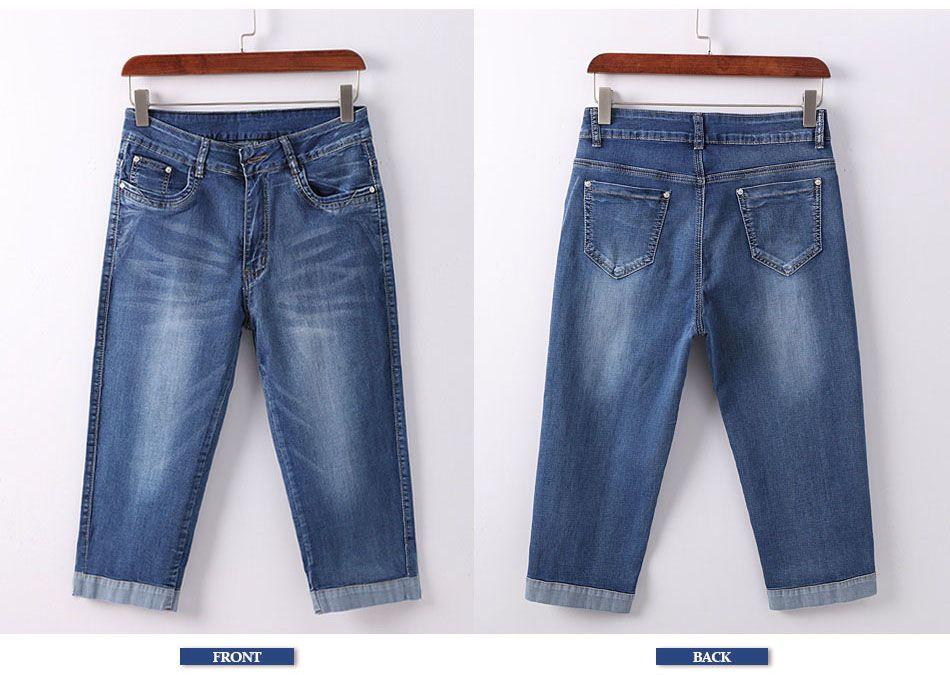 cd406ef61c2 GAREMAY Plus Size  Skinny  Capris Jeans Woman Female Stretch  Knee Length   Denim
