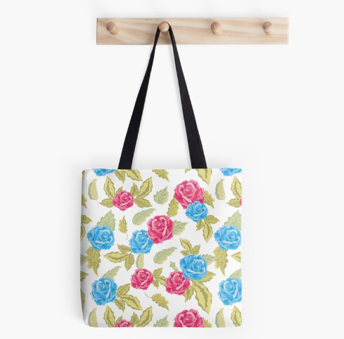 Red And Blue Roses Tote Bag By Jasonleone