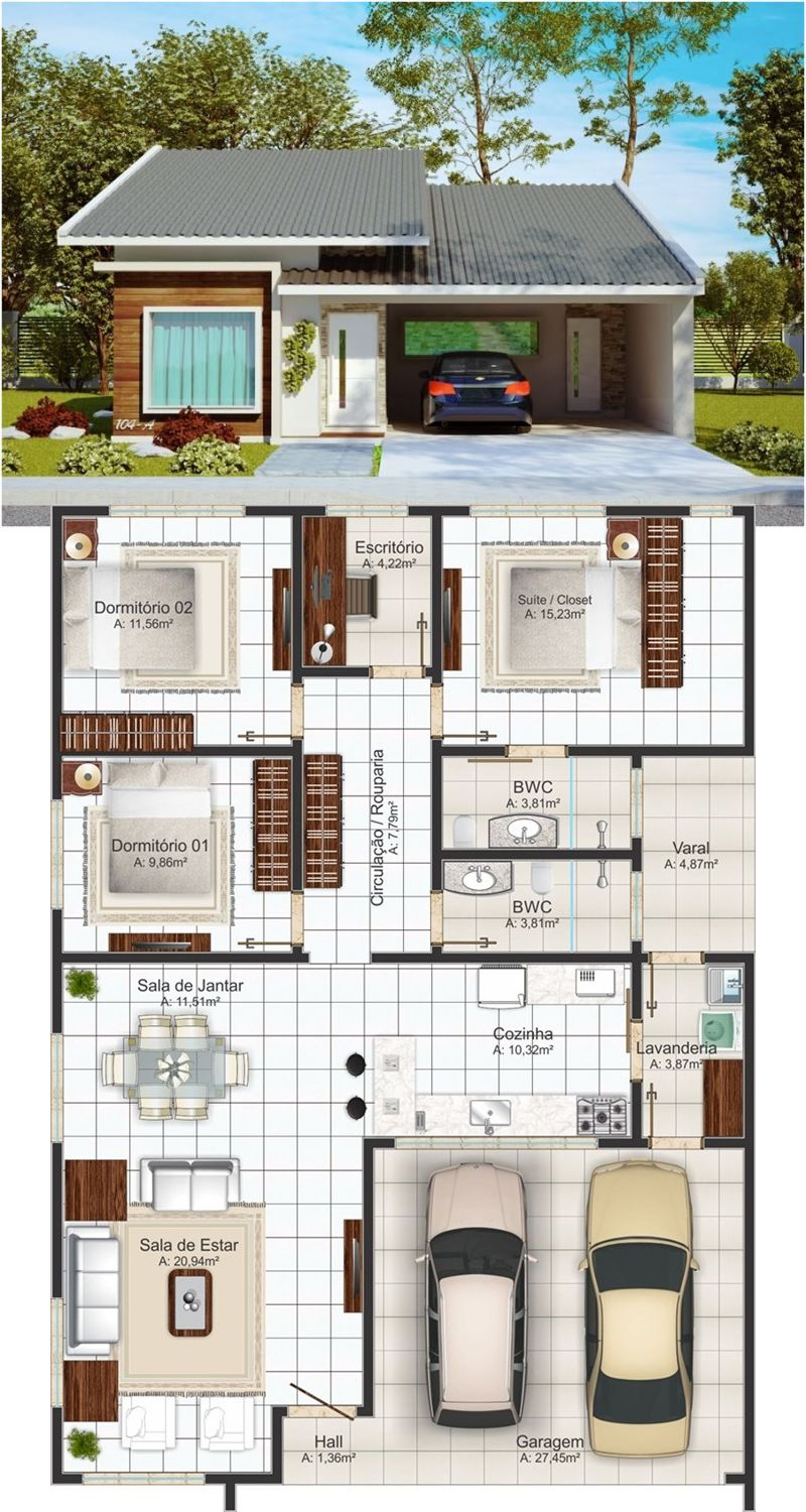Medium Size 3 Bedroom One Story House In 2020 House Construction Plan One Storey House House Layout Plans