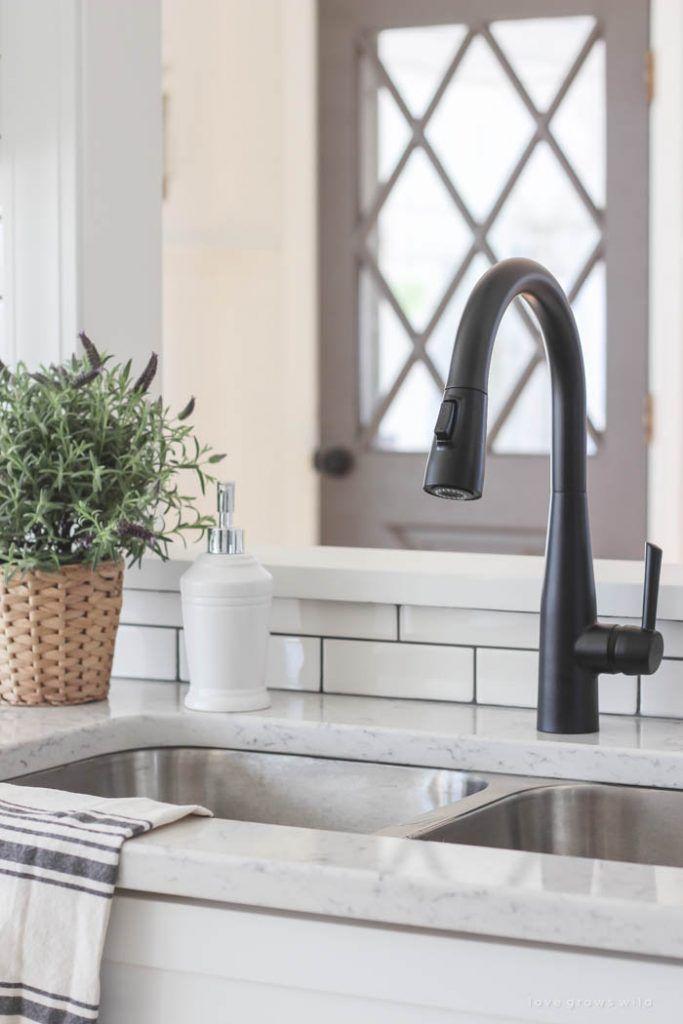 Smaller Doses Of Black In The Kitchen Centsational Style Kitchen Faucet Farmhouse Black Kitchen Faucets Farmhouse Faucet