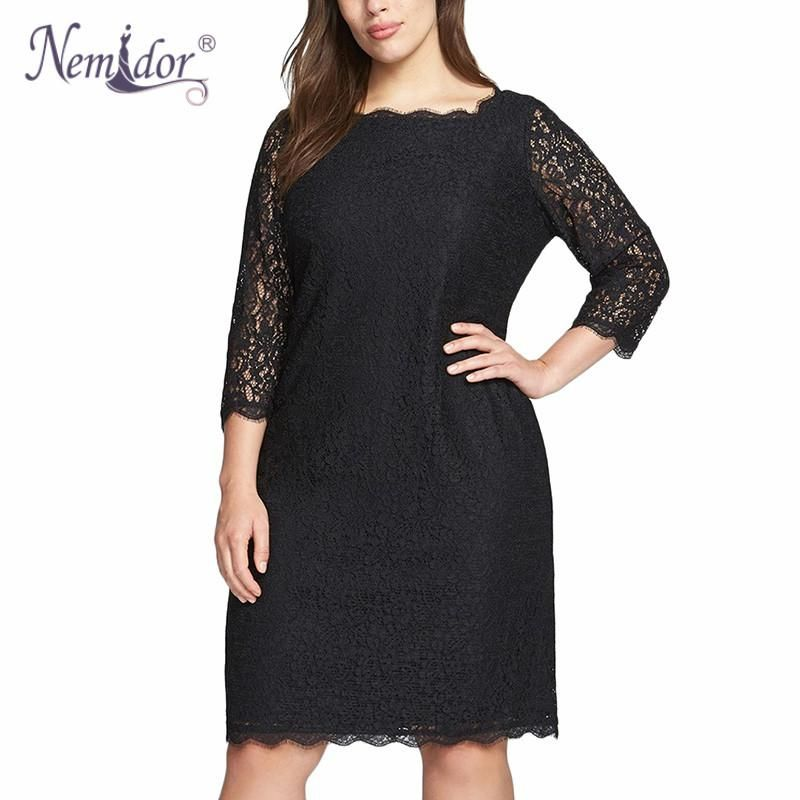 73a500e1ea Gender  Women Dresses Length  Knee-Length Model Number  Plus size lace dress  Sleeve Length(cm)  Three Quarter Season  Summer Style  Casual Material  ...