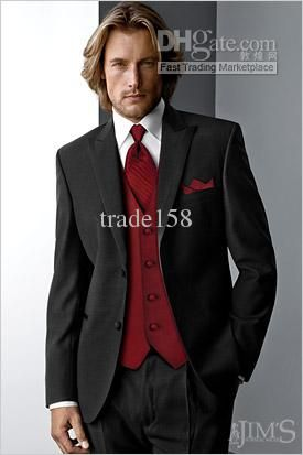 Custom Made Black Groom Tuxedos Wedding Suits Prom Clothing Jacket Pants Waistcoat Tie Dh 133