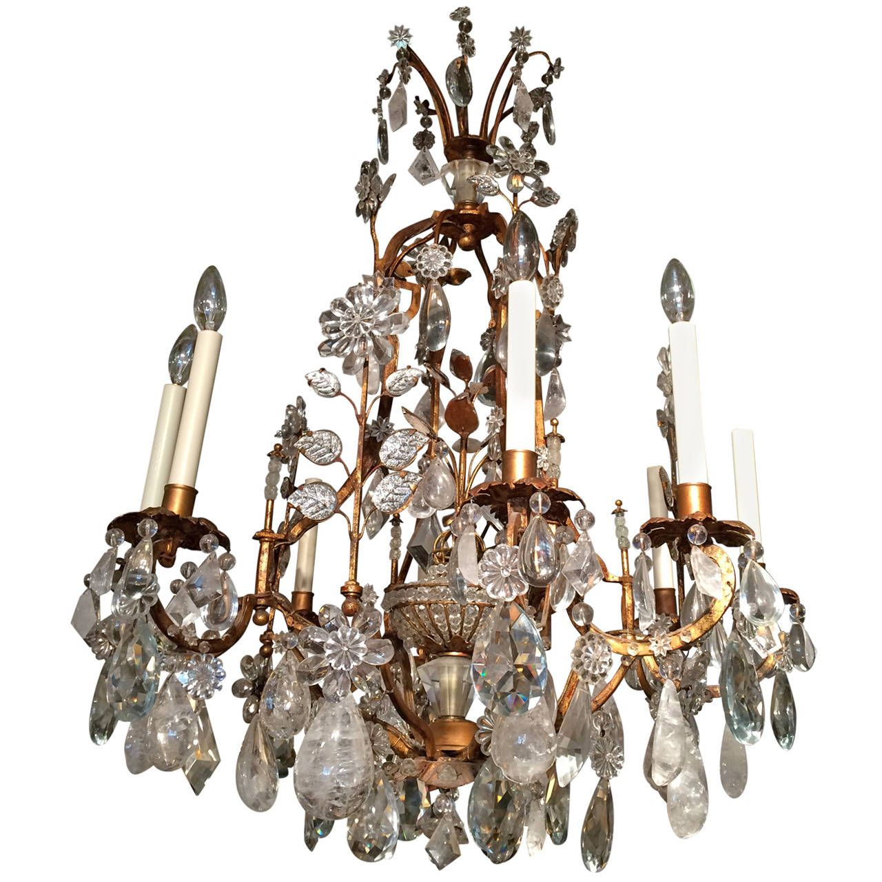 Bagues rock crystal and gilt wrought iron chandelier wrought bagues rock crystal and gilt wrought iron chandelier aloadofball Image collections