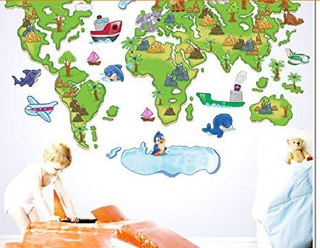 Revesun hot cartoon version of the world map wall decals kids vinyl cheap sticker wall murals buy quality stickers pain directly from china stickers purple suppliers green world map cartoon animals wall sticker kids room gumiabroncs Image collections