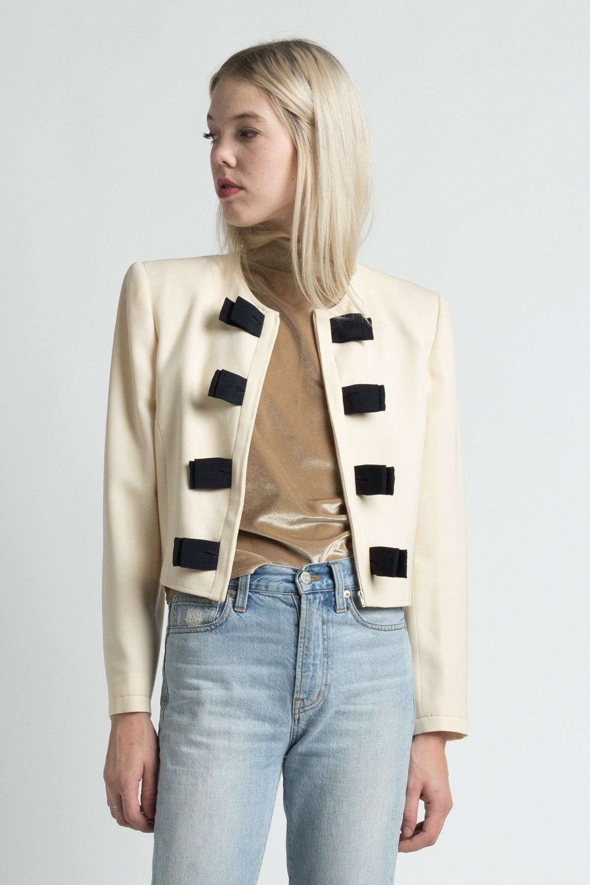 Vintage 90s Valentino Ivory Wool Cropped Jacket with Bows | 6