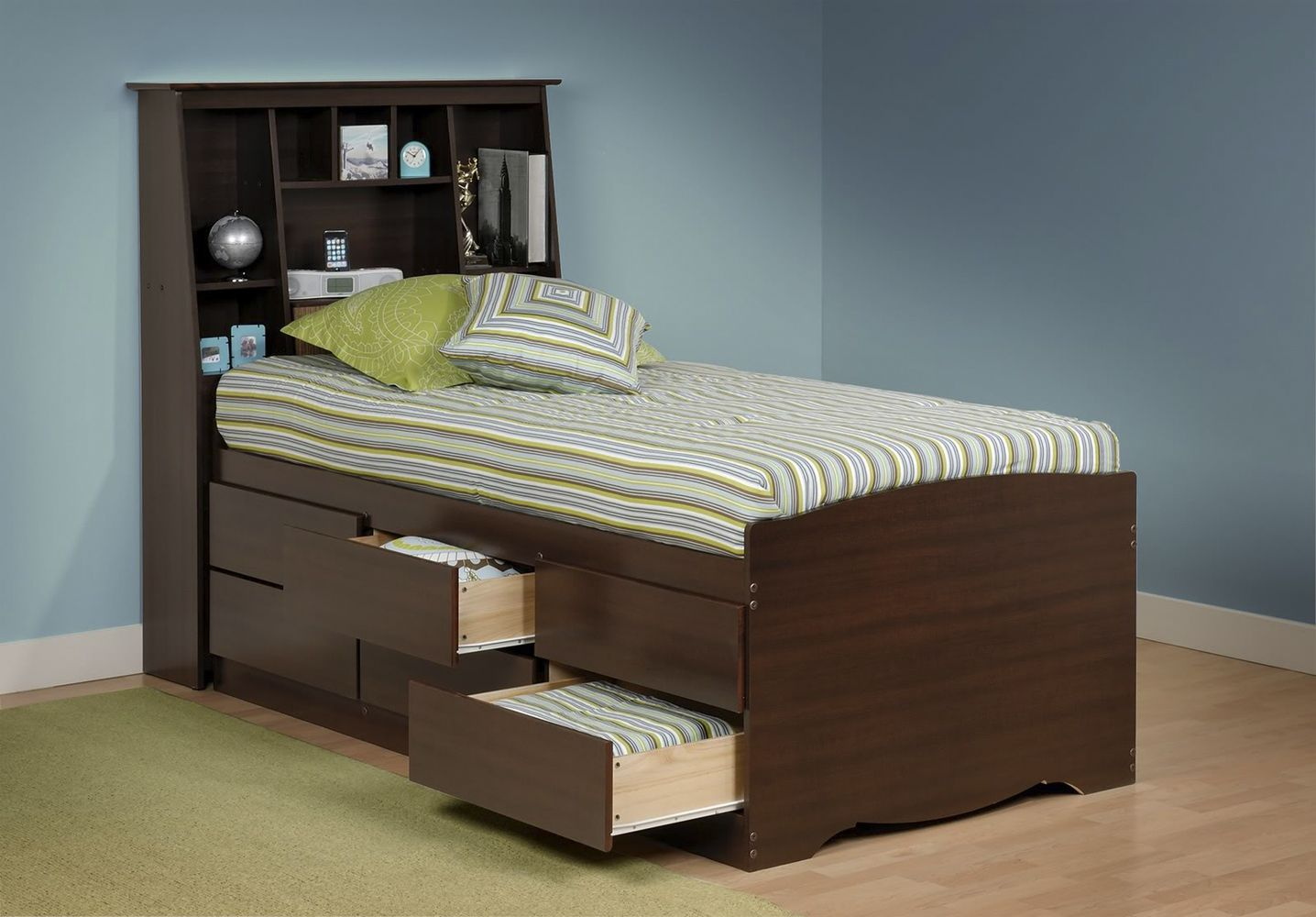 Image Detail For Prepac Tall Captains Platform Storage Bed W Bookcase Headboard By Oj