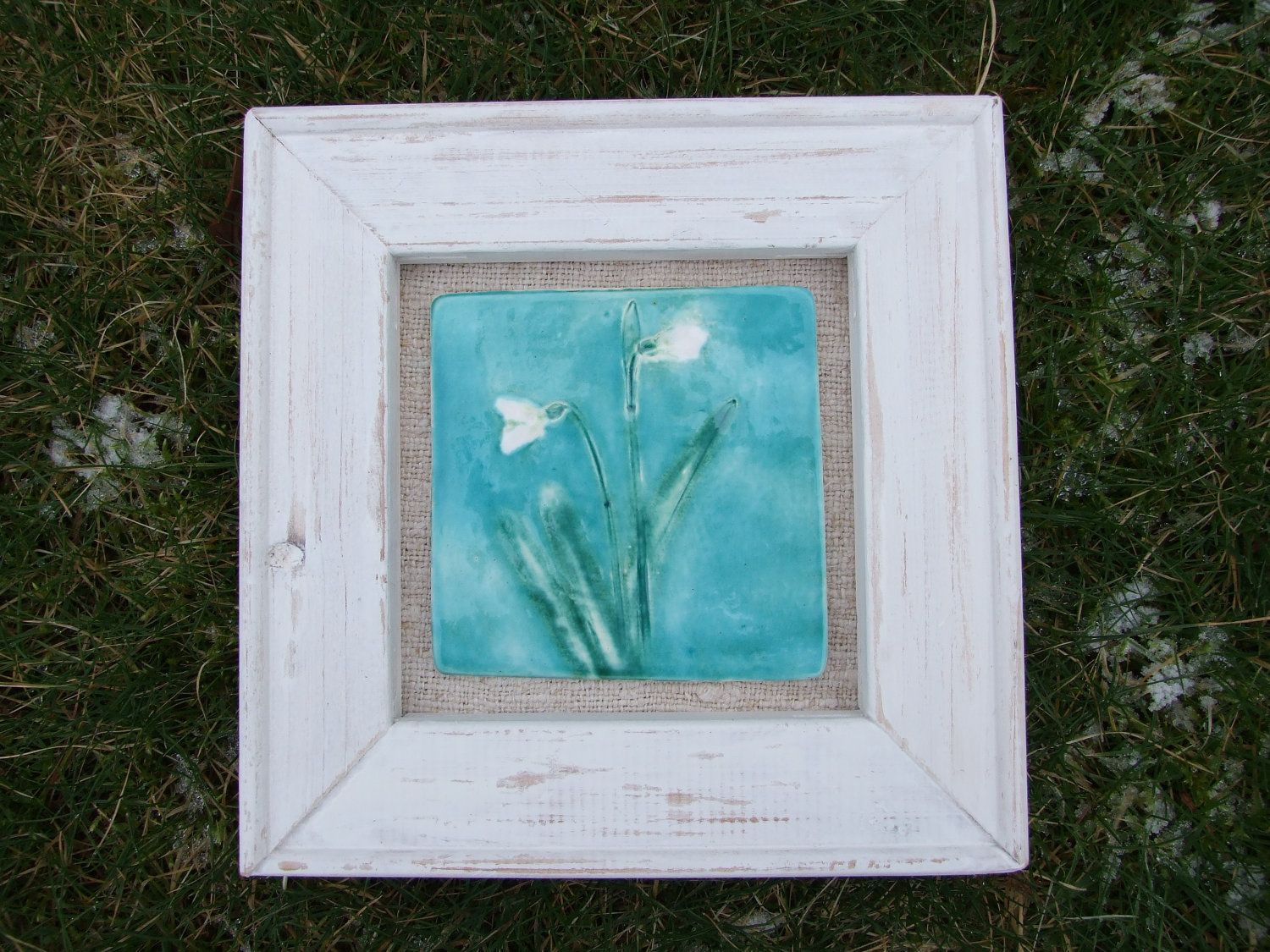 Snowdrop Ceramic Tile Picture Turquoise Sky Rustic Wood Frame