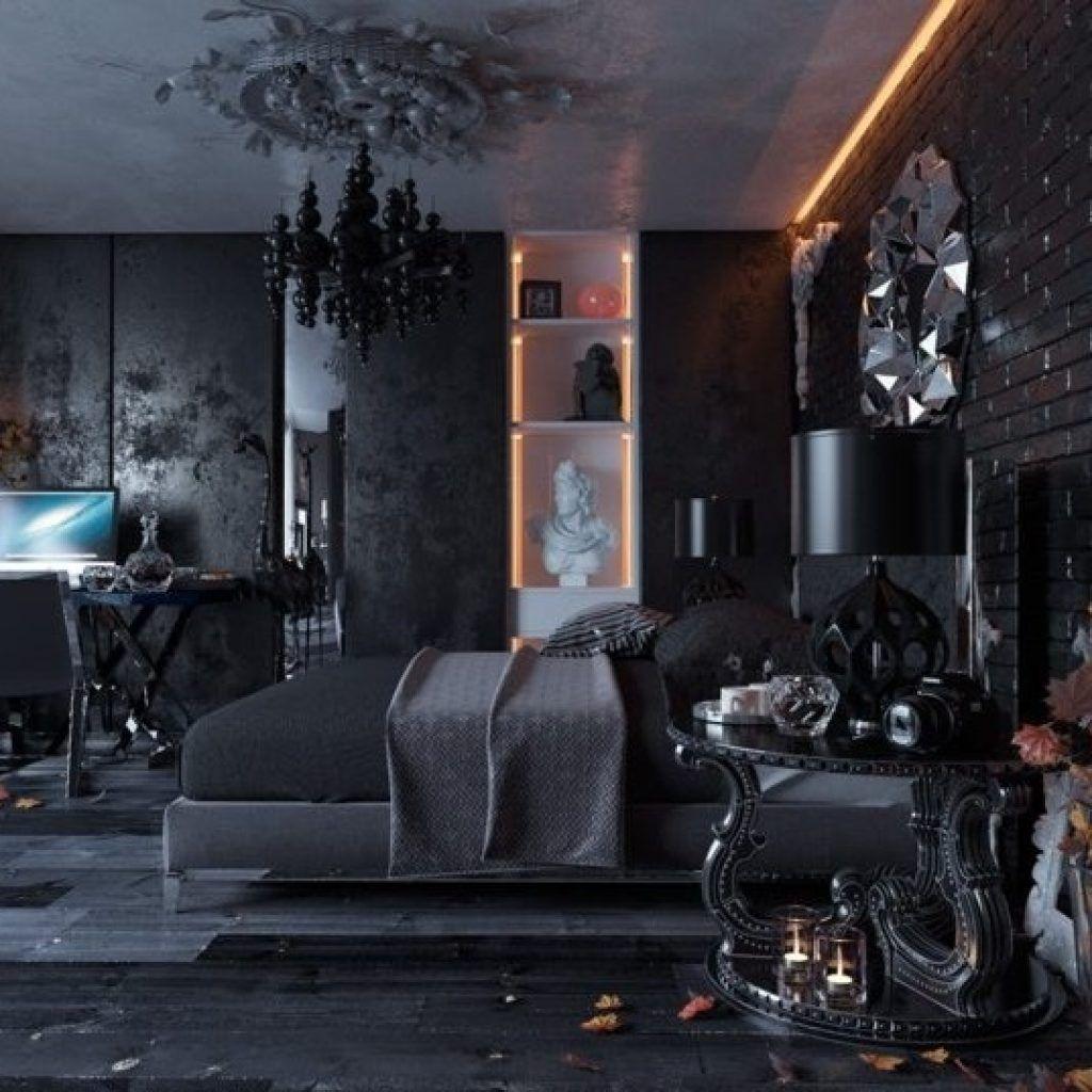 Modern Gothic Bedroom Interior Wall Design Black Interior
