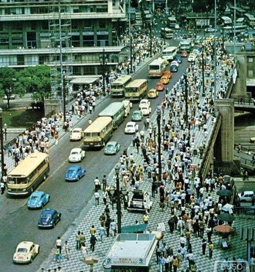 mais um pouco do colorido transito de 1972 viaduto do cha