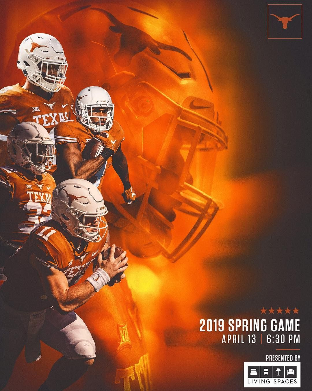 Texas Football On Instagram The 2019 Texas Spring Game Will Take Place April 13 The Game Kicks Off At 6 30 P Football Poster Texas Football Nfl Football Art