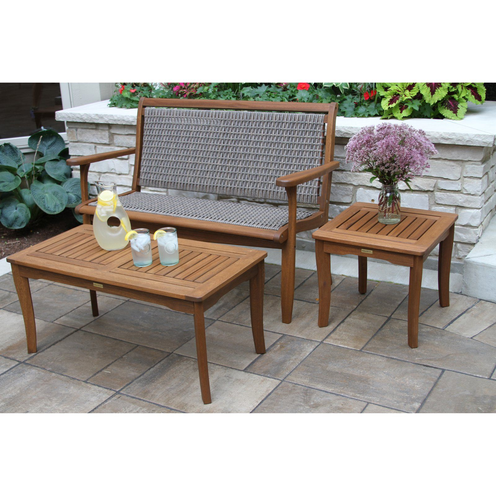 Outdoor interiors 3 piece patio conversation set brown