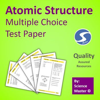 Atomic structure test prep multiple choice and teacher multiple choice test paper contains 20 questions on atomic structure ideally can be used for ccuart Image collections