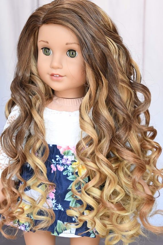11 Custom Doll Wig fits American Girl Dolls Journey Girls Our Generation Gotz HEAT SAFE tangle Resistant Blonde Brown Blend