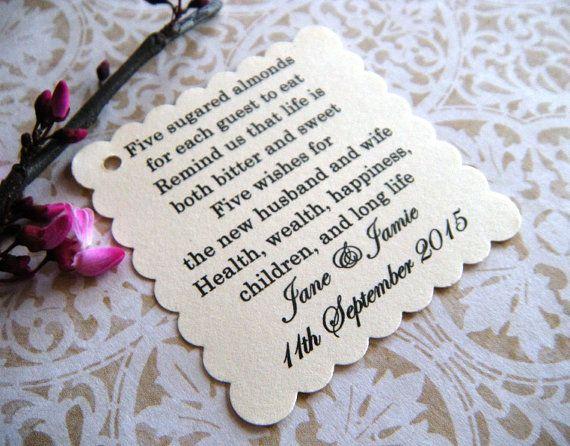 100 Custom Printed Jordan Almond Wedding Favor by WeddingsBySusan
