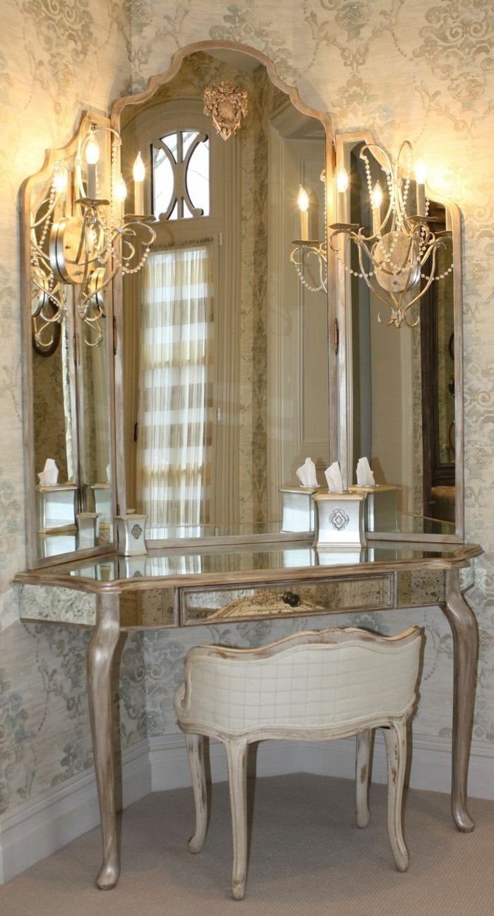 Jolie coiffeuse avec miroir 40 id es pour choisir la meilleure meubles pinterest miroir - Ikea miroir chambre ...