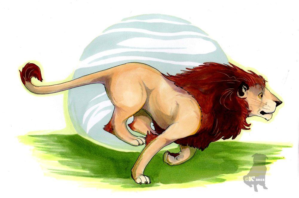Running Lion by ~therealbloodhound on deviantART