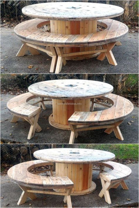 recycled-pallet-cable-reel-patio-furniture | Arch | Pinterest ...