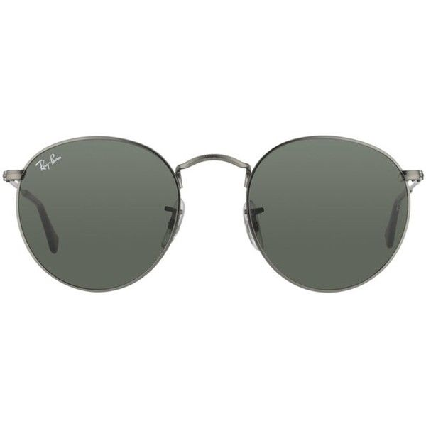 be1384ae69 Ray-Ban RB 3447 029 Matt Gunmetal Round Metal Sunglasses ( 113) ❤ liked on  Polyvore featuring accessories