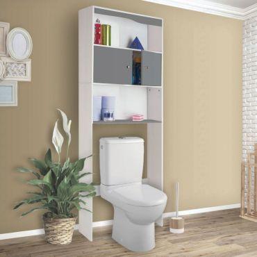 Meuble Wc Design Blanc Et Gris En Bois L 58 X P 19 5 X H 178 Cm
