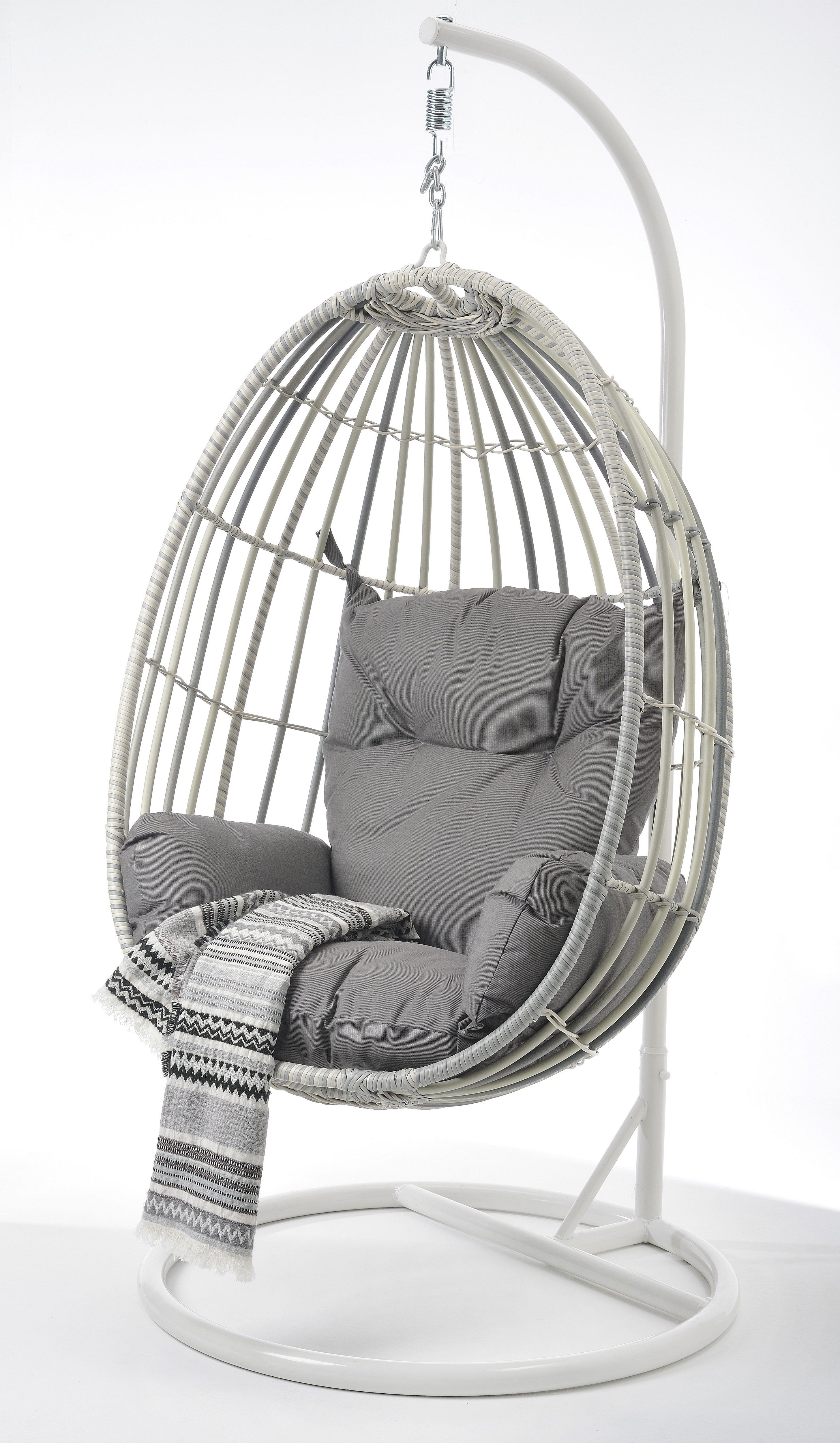New Moon Wicker Outdoor Hanging Egg Chair White