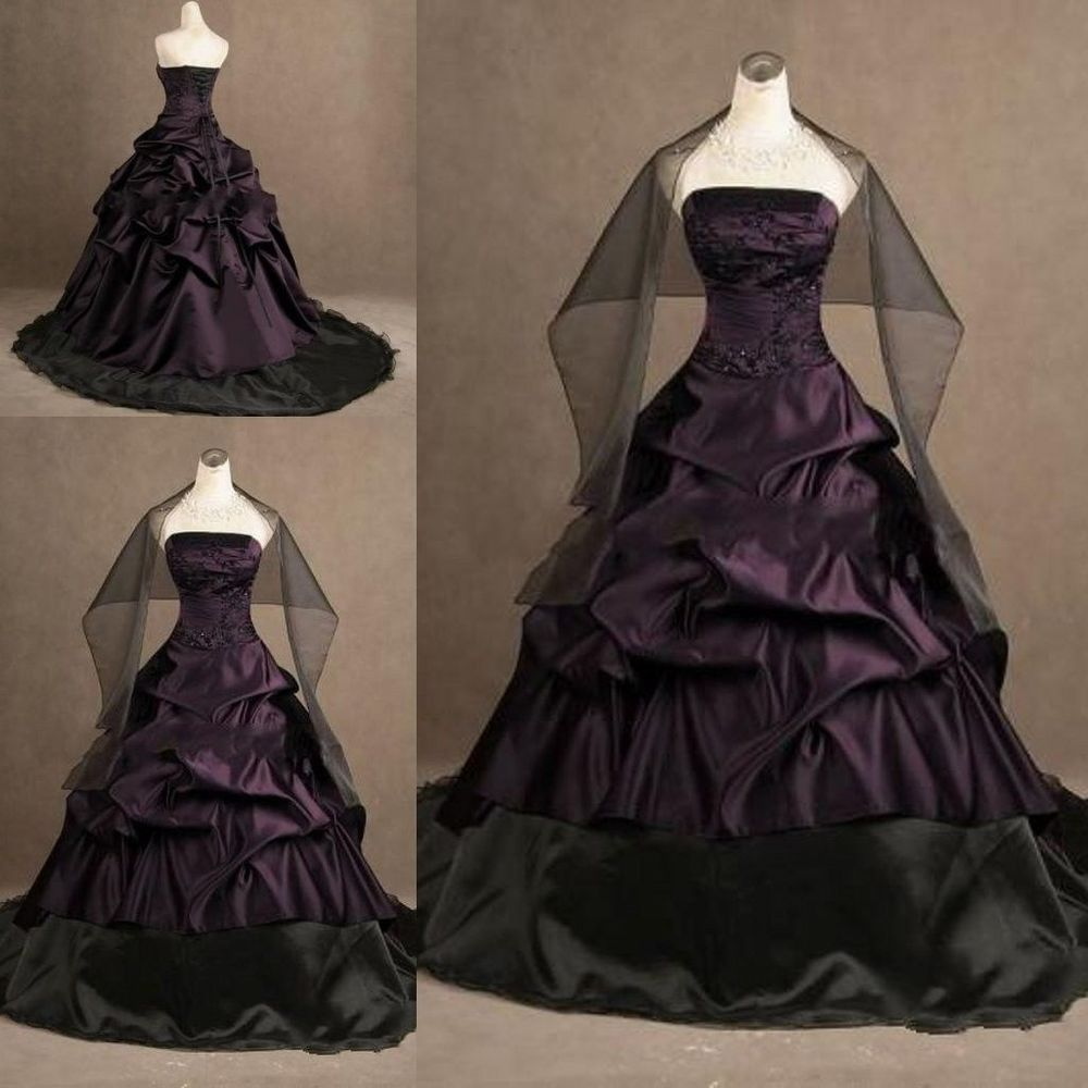 Gothic Black Wedding Dresses Plus Size Ball Gowns Puffy: Custom Gothic Ball Gown Purple And Black Plus Size Wedding