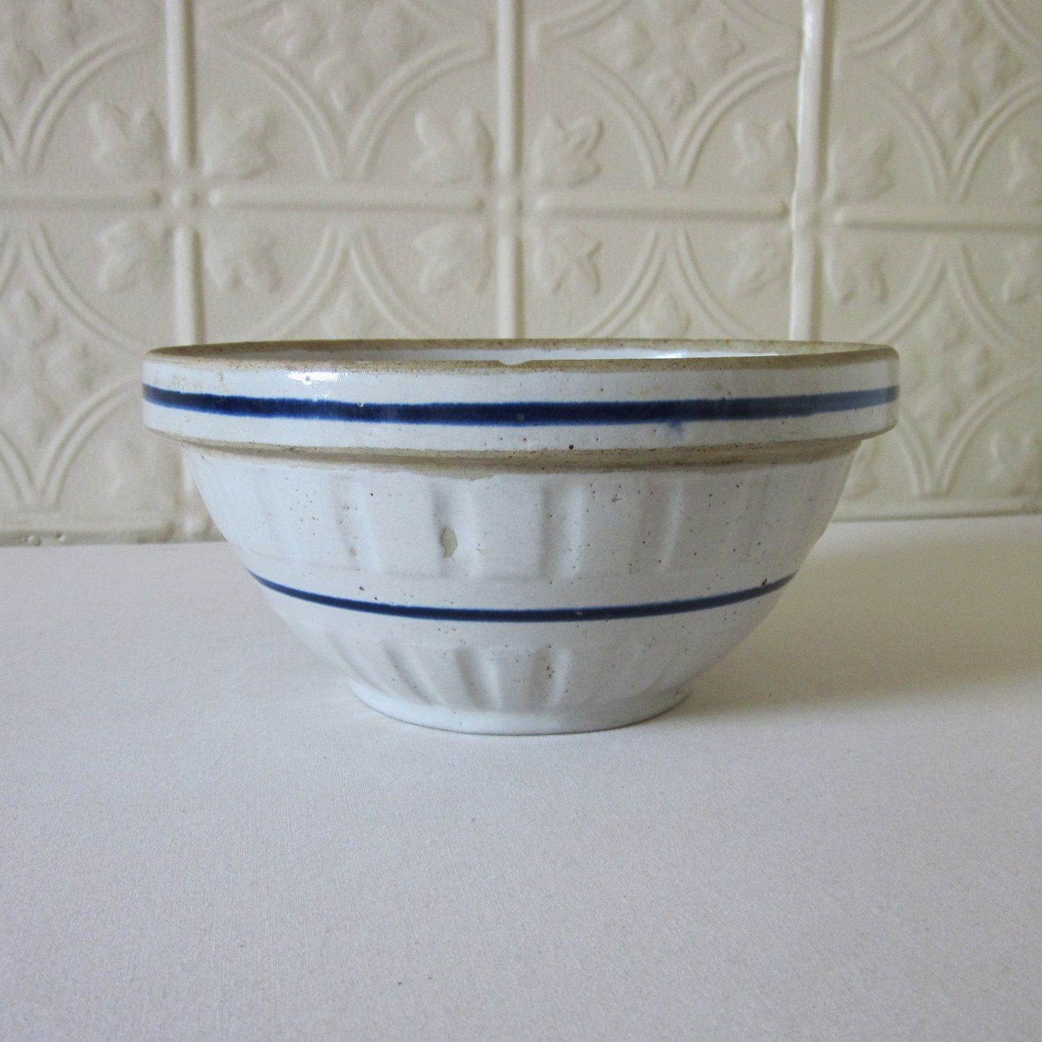 Stoneware Red Wing Bowl with Blue Band Pottery Crock | Blue band ...