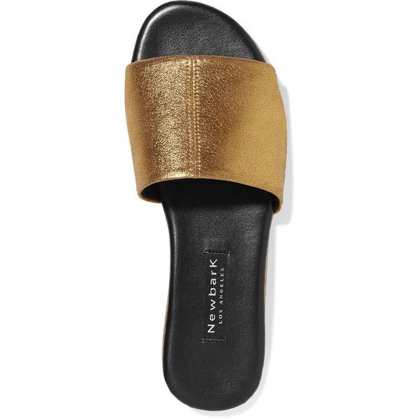 NewbarK Frankie metallic brushed-leather slides (17.195 RUB) ❤ liked on Polyvore featuring shoes, shiny leather shoes, pull on shoes, handcrafted leather shoes, polish shoes and leather slip-on shoes