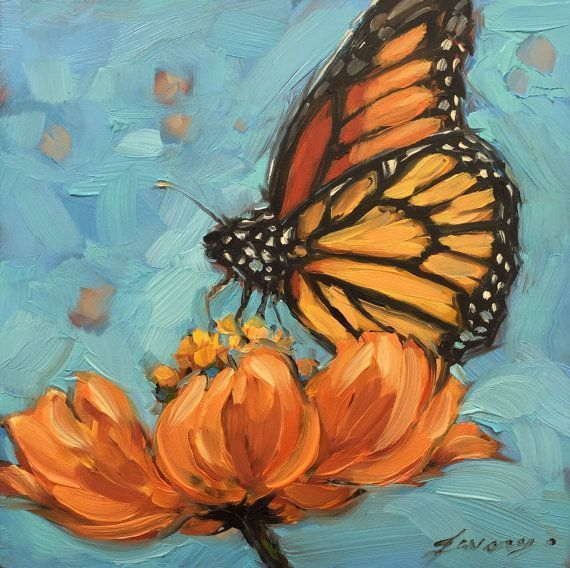 AMY M. Butterfly Painting,  5x5 inch original oil painting of a Monarch Butterfly. Paintings of butterflies, butterfly artwork                                                                                                                                                                                 More