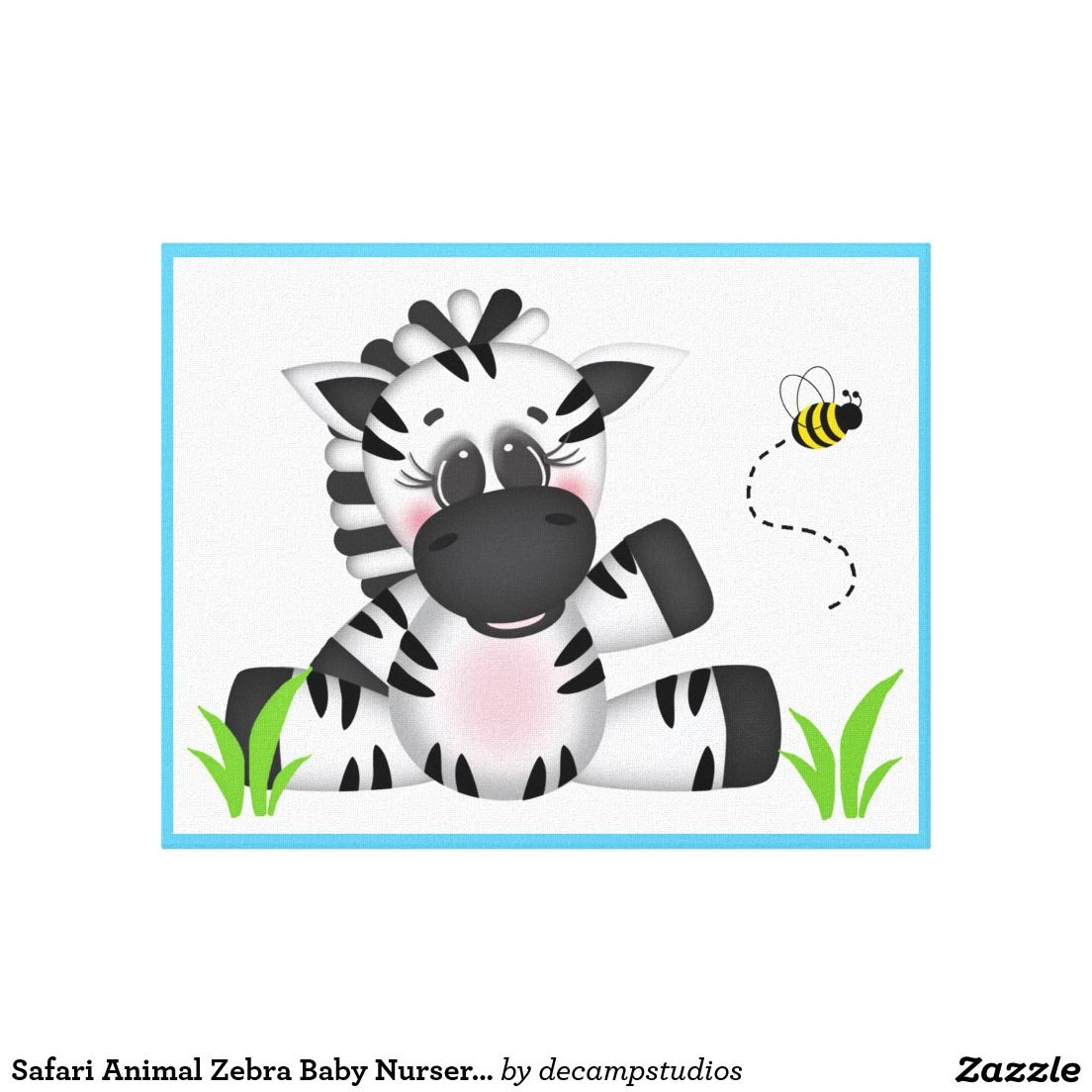 Safari Animal Zebra Baby Nursery Wall Art Print