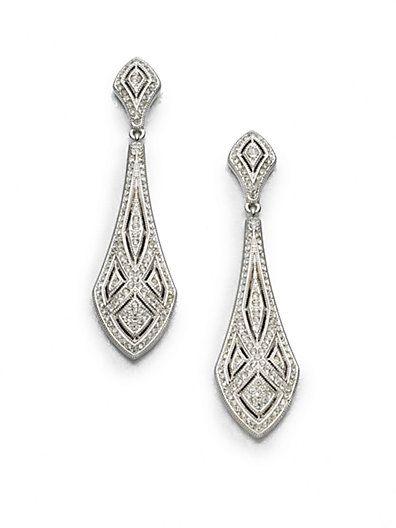 Art Deco Crystal Drop Earrings $65.64 AT vintagedancer.com