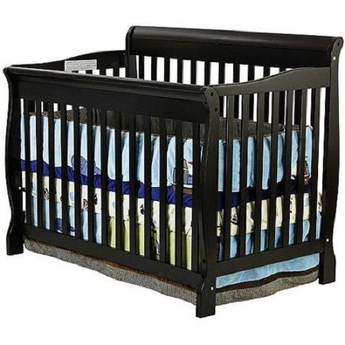 Black Convertible Crib Baby Nursery 4 In 1 Toddler Bed Stationary Wood Dream New Baby Cribs Convertible Cribs Convertible Crib
