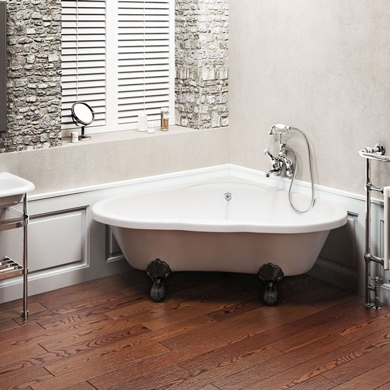 Clearwater - Heart Traditional Corner Bath with Chrome Ball & Claw ...