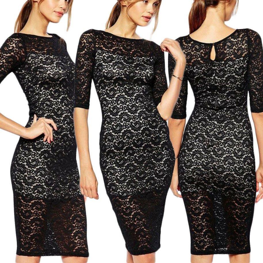 Moda Donna Pizzo Vestito Bodycon Evening Wear Top CASUAL PARTY DONNA ABITO