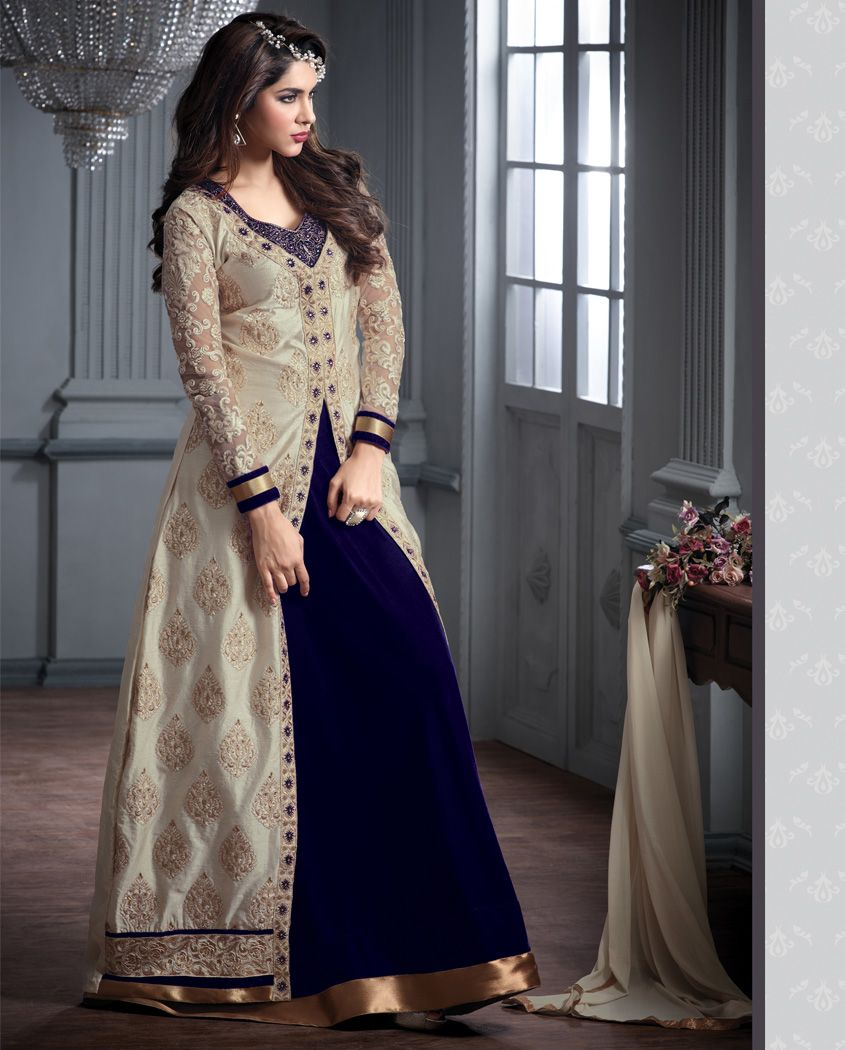 2efee36e4d Blue banarasi silk long straight front slit suit 2. Heavy beautiful  embroidered work with front slit open 3. Comes with a matching velvet  bottom and dupatta ...
