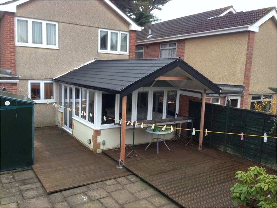 Looking For Something A Little Different This Conservatory Roof Has Been Replaced With A Canopy In Conservatory Design Conservatory Underfloor Heating Systems