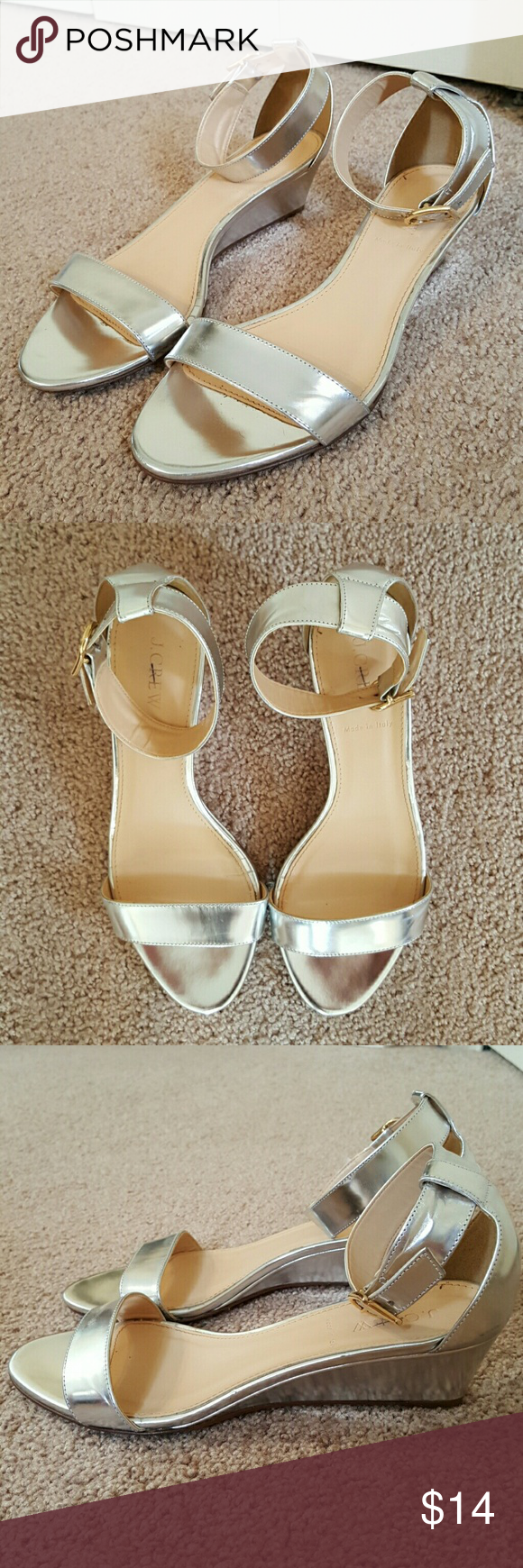 J. Crew Strappy Silver Low Wedge Sandals 8.5M Metallic leather low wedge sandals from J. Crew. Size 8.5M. 1.5