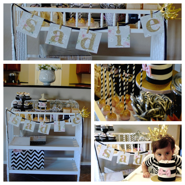 An Adorable Black Gold And Pink 1st Birthday Party 1st