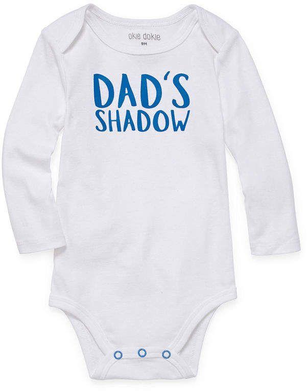 d82d2a040 Okie Dokie Dad's Shadow Long Sleeve Slogan Bodysuit - Baby Boy NB-24M