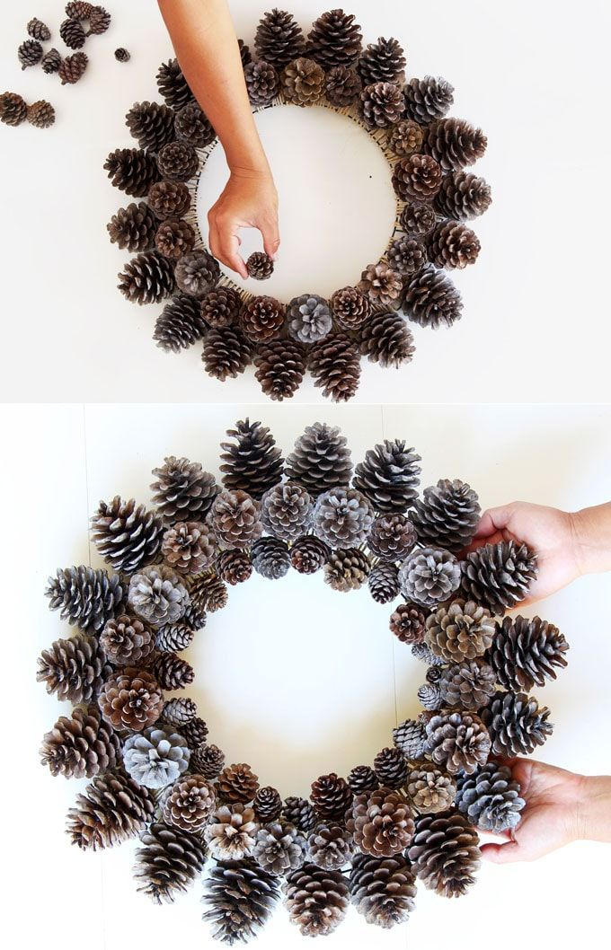 Beautiful Fast & Easy DIY Pinecone Wreath ( Improved Version!) #christmasdecor