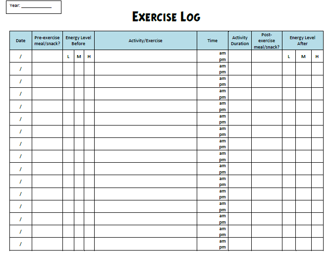 Exercise Log Information on Happy Healthy News | Bored | Pinterest ...