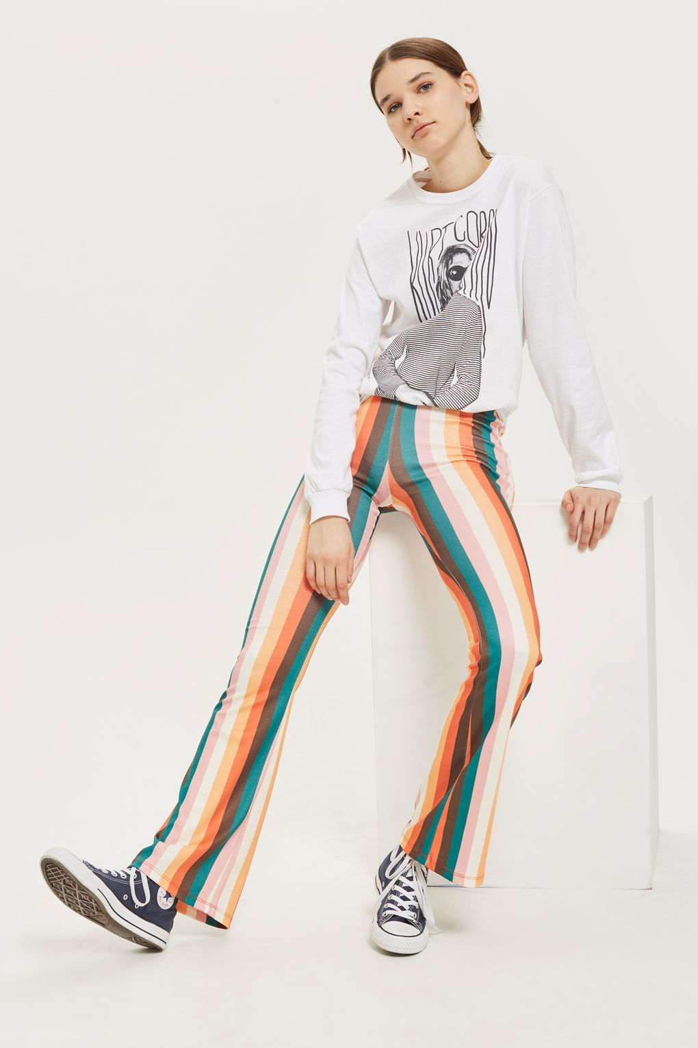 hot-selling professional 100% satisfaction on feet images of Rainbow Striped Flared Trousers | Striped flare pants ...
