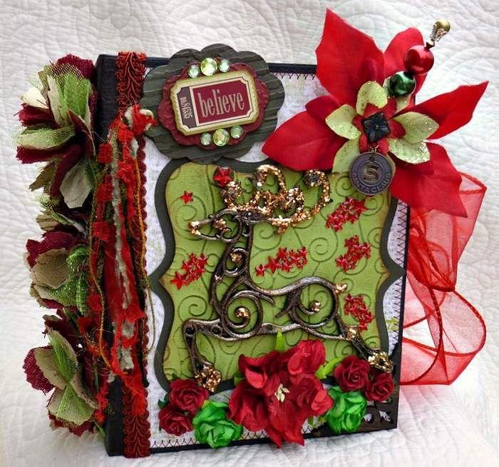Twag Kristi Christmas Premade Scrapbook Album Stitched