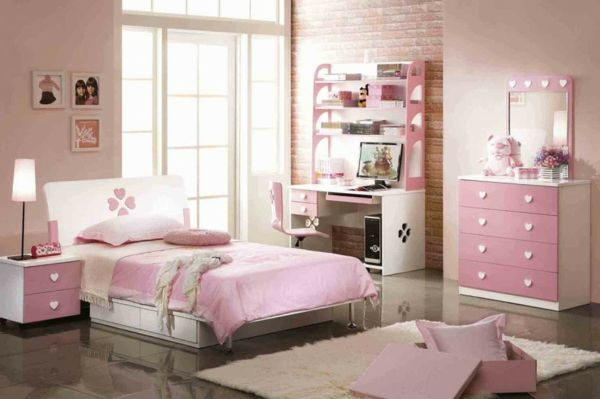 kinderzimmer gestalten rosa wei herzen tapeten ziegel. Black Bedroom Furniture Sets. Home Design Ideas