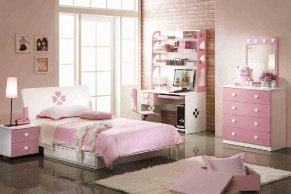 kinderzimmer gestalten rosa weiß herzen tapeten ziegel muster ... - Ideen Kinderzimmer Tapeten Muster