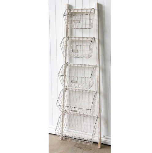 White Wooden Ladder Storage Shelf Metal Baskets Shelves  Timber Kitchen Bathroom