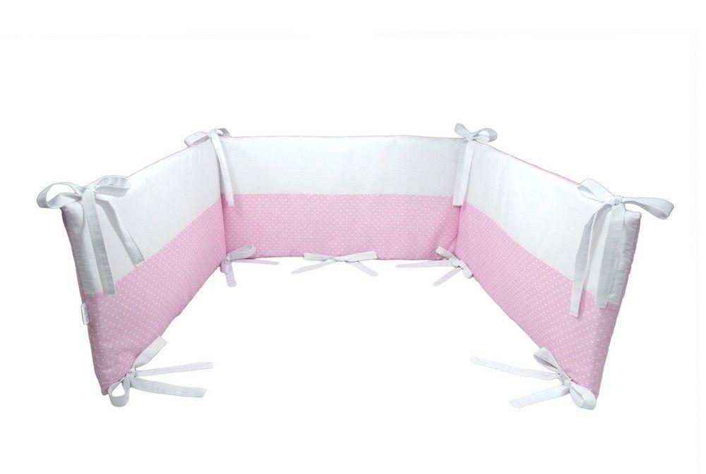 Tour de lit bébé déhoussable Blanc Rose Pois