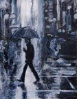 Rainy street in the city, acrylic on canvas paper