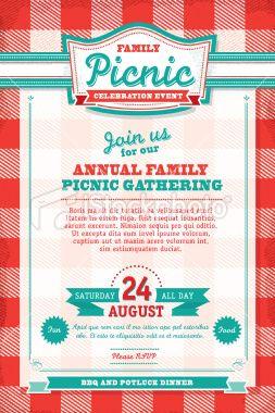 vector illustration of a family picnic celebration invitation design