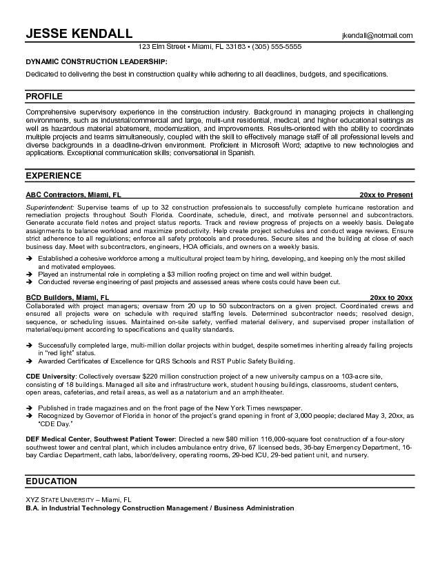 Example Construction Superintendent Resume Free Sample Template Project Manager Cover Letter For Resume Resume Resume Cover Letter Template