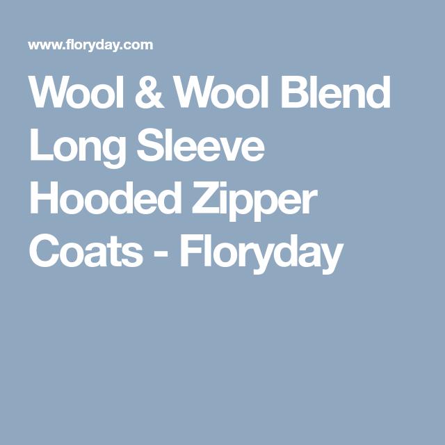 Wool & Wool Blend Long Sleeve Hooded Zipper Coats - Floryday